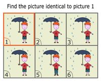 Illustration of Finding Two Identical Pictures. Logic Game for Children. royalty free illustration