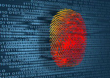 Illustration of the finger print. And binary code Royalty Free Stock Photography