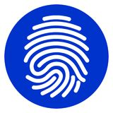 Finger print blue circle icon. Illustration of finger print blue circle icon Royalty Free Stock Photography