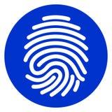 Finger print blue circle icon. Illustration of finger print blue circle icon Royalty Free Stock Photography