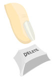 Illustration of finger pushing delete. Vector illustration of finger pushing delete button, white background Stock Photos