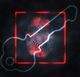 Illustration of the fingerprint. Abstract illustration of the finger print and key Stock Photo