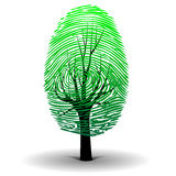 Fingerprint tree. Illustration of the fingerprint as a symbol of ecology Stock Photos