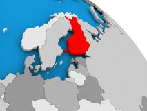 Finland in red on map. Illustration of Finland highlighted in red on globe. 3D illustration Stock Photos