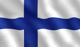 Illustration of a Finnish Flag. Illustration of a flying Finnish Flag Royalty Free Stock Photo