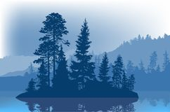 Blue fir trees on small island in forest lake. Illustration with fir trees on small island in forest lake Stock Photography