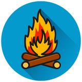 Fire circle flat blue icon. Illustration of fire circle flat blue icon Royalty Free Stock Image