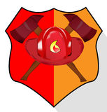 Illustration of fire department shield isolated. On white background Stock Photos