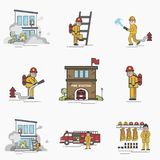 Illustration of fire fighter. Lifestyle Stock Photo