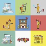 Illustration of fire fighter lifestyle Royalty Free Stock Photos