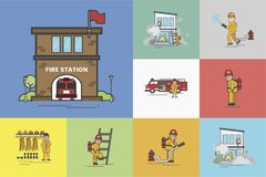 Illustration of fire fighter set Royalty Free Stock Images