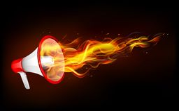Fiery Announcement. Illustration of fire flame coming out of megaphone Stock Images