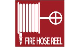 Illustration of fire hose reel. Information on where the fire hose is located stock illustration
