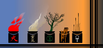 Illustration of fire, smoke, wood and candles. Vector illustration candlesticks. Fire, smoke, wood, extinguished the candle joss-sticks Royalty Free Illustration