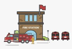 Illustration of fire station abstract Stock Photos