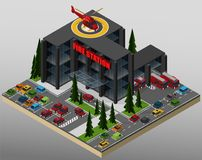 Illustration of a fire station. Vector isometric illustration of an element of urban infrastructure consisting of a fire station, car park and parked vehicles Stock Photos