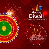 Illustration of firecracker on Happy Diwali shopping sale offer Stock Image