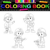 Firefighter coloring book. Illustration of firefighter coloring book Royalty Free Stock Images