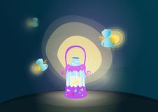 Illustration of fireflies Royalty Free Stock Photography