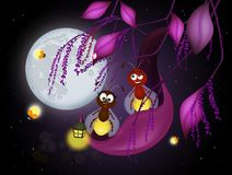 Fireflies in the night. Illustration of fireflies in the night Royalty Free Stock Photo