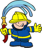 Illustration of fireman. Holding water hose Royalty Free Stock Image