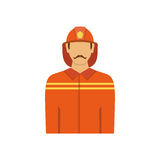 Illustration of fireman isolated on white background in flat sty. Le. Man from fire brigade in form of fireman.Profession vector avatar icon Stock Images