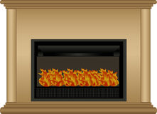 Illustration of fireplace. Vector illustration of fireplace with burning fire, isolated on white background Royalty Free Stock Photos