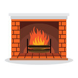 Illustration Fireplace with. Fire Isolated on White Background Royalty Free Stock Image