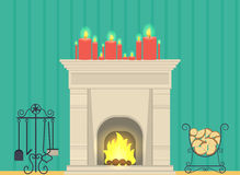 Illustration - a fireplace in the living room interior. Vector illustration - a fireplace in the living room interior Stock Photo