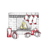 Illustration of fireplace with socks. And Christmas gifts Royalty Free Stock Photos
