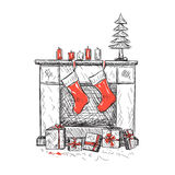 Illustration of fireplace with socks. And Christmas gifts Royalty Free Stock Photo