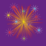 Illustration of firework with bright stars. At the edges of the picture flashes of light on a purple background Stock Images
