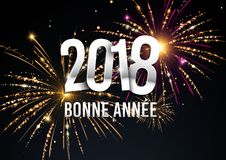 2018  illustration with fireworks in the background Royalty Free Stock Photo