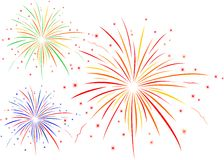 The  illustration of fireworks. The  illustration of colourful fireworks Royalty Free Stock Photos