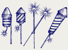Illustration fireworks. Doodle style. Vector Stock Photography
