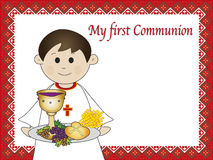 First communion. Illustration for first communion for boy Stock Photos