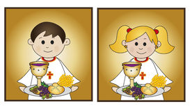 First communion. Illustration for first communion for boy and girl Royalty Free Stock Photos