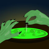 Illustration from the first person. Witch brews a potion. Stock Photos