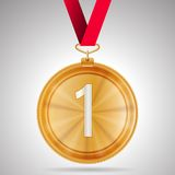 Illustration of first place medal. Gold winner first place medal with red ribbon.  illustration on gray background Stock Photography