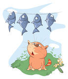 Illustration of A fish and a Cat. Cartoon. Red striped cat and dried fish Stock Photos