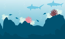 Illustration of fish and coral reef landscape. Collection Royalty Free Stock Photos