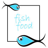 Fish logo. Illustration of fish food frame on white background Stock Photography