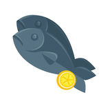 Illustration of fish with lemon in cartoon style. Royalty Free Stock Images
