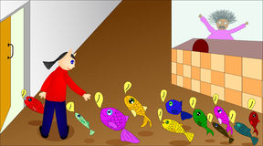 Illustration of fish store Royalty Free Stock Photos