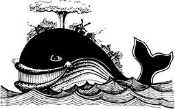 The fish-whale at sea royalty free illustration