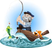 Illustration of a fisherman in a boat. With a dog, a fisherman pulling a fish out of water Stock Photography