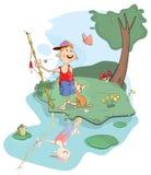 Illustration of fisherman and cat cartoon Stock Photos