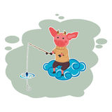 Illustration of a fisherman in heaven Royalty Free Stock Photography