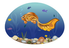 Illustration of the fishes on the background of a sea landscape Royalty Free Stock Photo