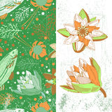 Illustration with fishes and flowers Royalty Free Stock Photo